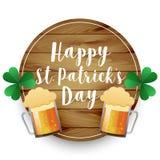 Beer mugs st patricks day background. Vector royalty free illustration