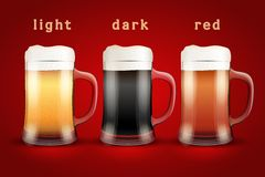 Beer mugs with three brands Royalty Free Stock Photo