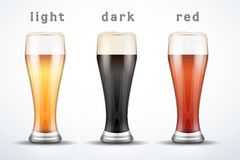 Beer mugs with three brands Royalty Free Stock Images