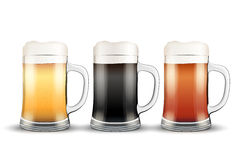 Beer mugs with three brands Stock Images