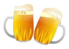 Beer mugs. Vector illustration of two beer cups isolated Stock Image