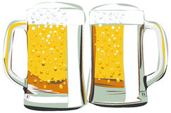 Beer mugs vector illustration. Two beer mugs vector illustration, isolated on white Royalty Free Stock Photos