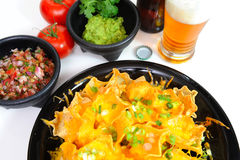 Beer And Nacho's Stock Photos