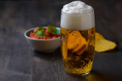 Beer with nachos and salsa Royalty Free Stock Image