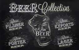 Beer names collection. Chalk. Names of different types of beer: porter, exports, lager, live deer, pilsner, stylized drawing with chalk on the blackboard Royalty Free Stock Photography