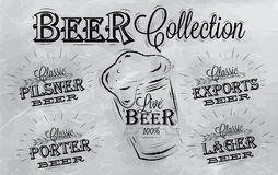 Beer names collection. Coal. Names of different types of beer: porter, exports, lager, live deer, pilsner, stylized drawing with coal on the board Stock Images