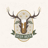 Beer negative space concept grunge vector label Royalty Free Stock Photo