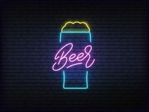 Free Beer Neon Glowing Sign. Bright Vector Label Of Beer Mug And Lettering Royalty Free Stock Photos - 144836728