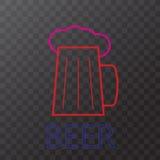 Beer neon lights Stock Photos