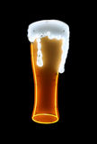 Beer Neon Sign Isolated. An isolated image pf a neon sign of a forthy glass of beer Royalty Free Stock Photo