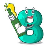 With beer number eight volume logo the mascot. Vector illustration stock illustration