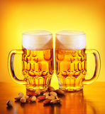 Beer and nuts Royalty Free Stock Photo