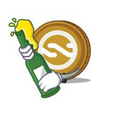 With beer Nxt coin mascot cartoon. Vector illustration Stock Photography