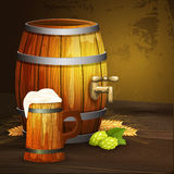 Beer oak mug barrel background banner Stock Image