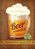 Beer octoberfest poster. Wooden bacckground Stock Image