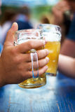 Beer on the oktoberfest stock image