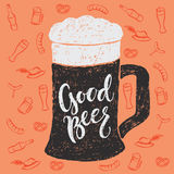 Beer and Oktoberfest brush hand lettering Royalty Free Stock Photography