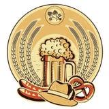 Beer oktoberfest label.Vintage graphic illustratio Royalty Free Stock Images