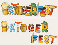 Beer oktoberfest lettersl.Vector text illustration Stock Photos