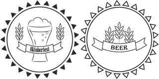 Beer oktoberfest line logo badge Royalty Free Stock Photo