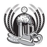 Beer oktoberfest symbol.Black graphic illustration Stock Photos