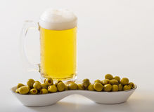 Beer and Olives Royalty Free Stock Photography