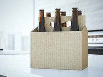 Beer packaging on the table. 3d rendering Stock Photo