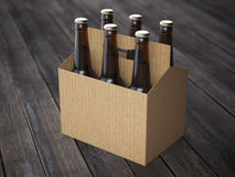 Beer packaging on the wooden floor Royalty Free Stock Image