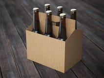 Beer packaging on the wooden floor. Beer cardboard packaging on the wooden floor Royalty Free Stock Image