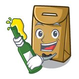 With beer paper bag above the mascot chair stock illustration