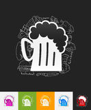 Beer paper sticker with hand drawn elements Stock Photography
