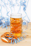 Beer with paper streamers Royalty Free Stock Image