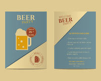 Beer party flyer invitation template with glass of Stock Photography