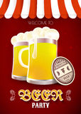 Beer party flyer. Vector illustration with beer glasses and coasters Stock Image