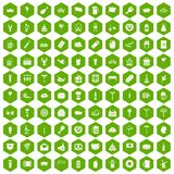 100 beer party icons hexagon green. 100 beer party icons set in green hexagon isolated vector illustration Stock Photo
