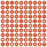 100 beer party icons hexagon orange. 100 beer party icons set in orange hexagon isolated vector illustration Stock Images