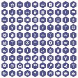 100 beer party icons hexagon purple. 100 beer party icons set in purple hexagon isolated vector illustration Royalty Free Stock Images