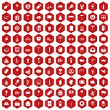 100 beer party icons hexagon red. 100 beer party icons set in red hexagon isolated vector illustration Royalty Free Stock Photo