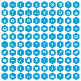 100 beer party icons set blue. 100 beer party icons set in blue hexagon isolated vector illustration royalty free illustration