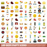 100 beer party icons set, flat style. 100 beer party icons set in flat style for any design vector illustration Stock Photography