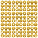 100 beer party icons set gold. 100 beer party icons set in gold circle isolated on white vectr illustration Stock Photo