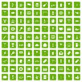 100 beer party icons set grunge green Royalty Free Stock Photos