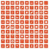 100 beer party icons set grunge orange. 100 beer party icons set in grunge style orange color isolated on white background vector illustration Stock Photos