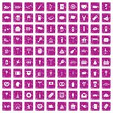 100 beer party icons set grunge pink. 100 beer party icons set in grunge style pink color isolated on white background vector illustration Stock Photography