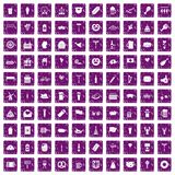 100 beer party icons set grunge purple. 100 beer party icons set in grunge style purple color isolated on white background vector illustration Royalty Free Stock Images