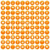 100 beer party icons set orange. 100 beer party icons set in orange circle isolated vector illustration Stock Photo