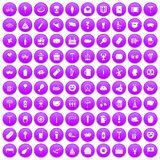 100 beer party icons set purple. 100 beer party icons set in purple circle isolated vector illustration Royalty Free Stock Photos