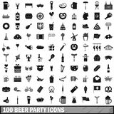 100 beer party icons set, simple style. 100 beer party icons set in simple style for any design vector illustration Royalty Free Stock Photos