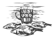 Beer party illustration. Beer mugs, fish. Traditional composition of sketch art style stock illustration