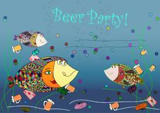 Beer party invitation with fishes abstract. Colorful vector illustration